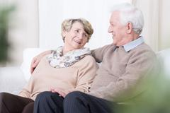 Romance in old age - stock photo