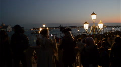 Stock Video Footage of Venice skyline at dusk during carnival