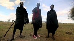 Maasai tribe with painted face Stock Footage