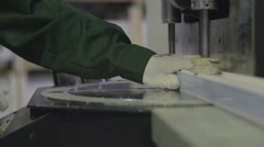 Working in manufacturing of windows and insulating glass - stock footage