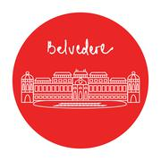 Vienna Belvedere Palace Museum complex vector icon Stock Illustration