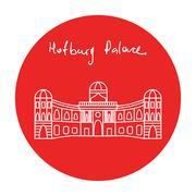 Austria Hofburg residence palace vector icon - stock illustration