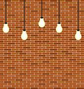 Wall brick with hanging bulbs decoration Stock Illustration