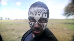 Maasai tribe with painted face - stock footage