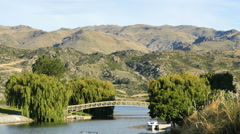 New Zealand Lake Dunstan bridge willows and boats Stock Footage