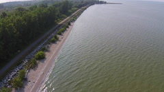 Polluted Lake Algae Bloom Aerial View Altitude increasing Stock Footage