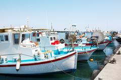 Yachts and fishing boats in Larnaca port, Cyprus. Stock Photos