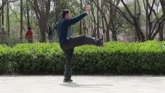 Chinese man exercising Taijiquan in garden Stock Footage
