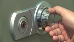Hand adult male opens the safe. Picks up cipher, the code. Inserts the key. Stock Footage