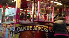 Candy apples booth at the West Coast Amusements Carnival - stock footage