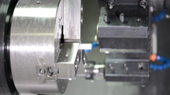 CNC milling turning machine in a modern plant making plastic detail 9001 Stock Footage