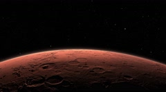 A spacecraft lifts off the surface of Mars Stock Footage