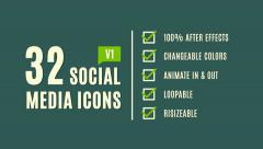 Stock After Effects of 32 Social Media Icons