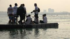 Photographers and crew at a jet ski competition in Doha, Qatar Stock Footage