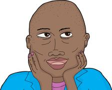 Cute Thoughtful Bald Lady - stock illustration