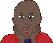 Isolated Surprised Bald Woman Stock Illustration