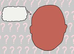 Blank Face with Thought Bubble - stock illustration