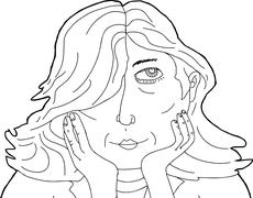 Outline of Pretty Lady with Hands on Chin Stock Illustration