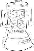 Outlined Blender Chopping Food - stock illustration