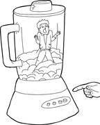 Outline of Food and Man In Blender - stock illustration