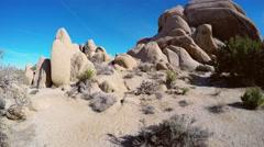 Joshua Tree National Park- Pan-Tilt Desert Rock Edifice - stock footage