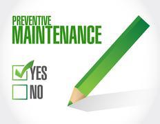 preventive maintenance approval sign concept - stock illustration