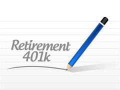 retirement 401k message sign concept - stock illustration