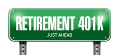 retirement 401k road sign concept - stock illustration