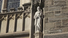Statue outside Cathedral Basilica of Christ the King/ 4k church footage Stock Footage