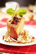 Piece of pound cake and cream - detail Stock Photos
