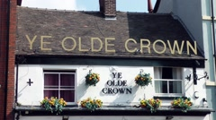 Ye Olde Crown old English pub bar public house alcohol Stock Footage