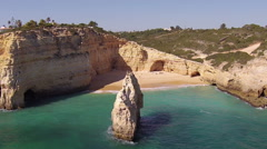 Natural rocks at Praia Benagil in the Algarve Portugal Stock Footage