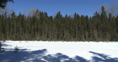 Panoramic view of frozen lake in Algonquin Stock Footage