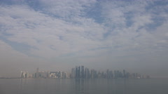 Doha, Qatar, West Bay financial district, time lapse, world city Stock Footage