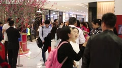 Visitors in a shopping mall Harbour City, Singapore Stock Footage