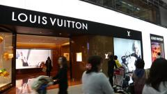 Louis Vuitton sign on front of the store in Incheon Airport, Seoul. Stock Footage