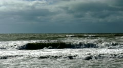 Storm brews waves at sea, 4K Stock Footage