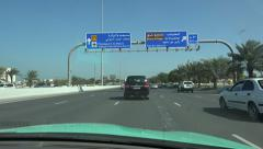 Doha, driving towards Hamad International Airport Stock Footage