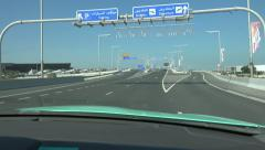 Driving towards Hamad International Airport, Doha Stock Footage