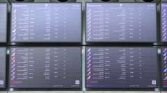 Schedule boards at Hamad International Airport, Doha, Qatar Stock Footage