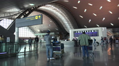 Departure hall at Hamad International Airport, Doha, Qatar Stock Footage