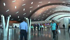 Departure hall, Hamad International Airport, Doha, Qatar Stock Footage