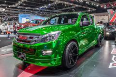 Vivid green Isuzu X- series Stock Photos