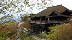The large veranda of Kiyomizu-dera (Kiyomizu Temple). Stock Footage