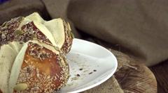 Fresh Pretzel Rolls (seamless loopable) Stock Footage