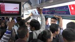 Dubai Metro, commuter train, passengers, public transport Stock Footage