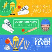 Cricket horizontal banners flat - stock illustration