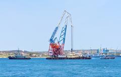 floating crane - stock photo