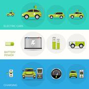Electric Car Banners Stock Illustration