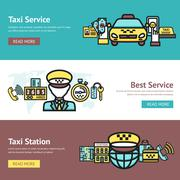 Taxi Banner Set - stock illustration